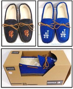 Men's MLB Team Color Big Logo Moccasin Slippers House Shoes