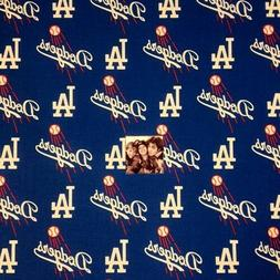MLB Baseball Los Angeles Dodgers Logos Blue 18x29 Cotton Fab
