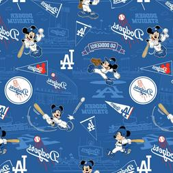 MLB Disney Mickey Los Angeles Dodgers Logo Cotton Fabric By