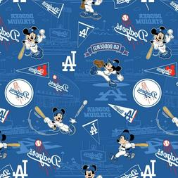 MLB Disney Mickey Mouse Los Angeles Dodgers Logo Cotton Fabr