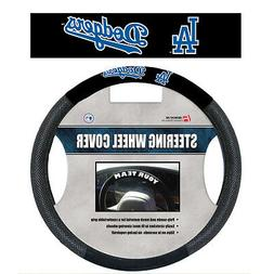 MLB L.A. Dodgers Black Poly Suede & Mesh Steering Wheel Cove