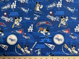 MLB LA LOS ANGELES DODGERS Baseball MICKEY 1/4 Yard  100% Co