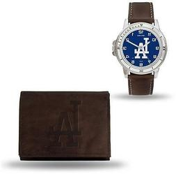 MLB Los Angeles Dodgers Brown Faux Leather Watch & Wallet Se