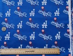 MLB Los Angeles Dodgers Cotton Fabric 1/2 Yard  New