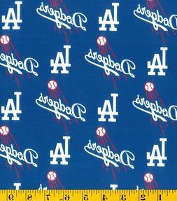 "MLB Los Angeles Dodgers Cotton Fabric 1/4 yard piece ~9"" len"