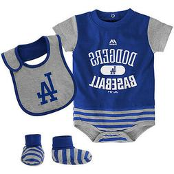 MLB Los Angeles Dodgers INFANT Majestic 3-piece Bodysuit/Cre