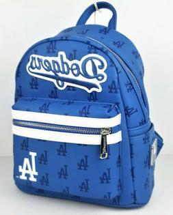 Loungefly MLB Los Angeles Dodgers Mini Backpack Blue Faux Le