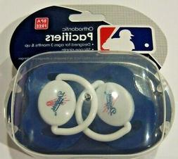 MLB Los Angeles Dodgers Pacifier set of 2 Solid Color w/Case