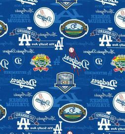 MLB LOS ANGELES DODGERS STADIUM COTTON FABRIC MATERIAL 1/2 Y