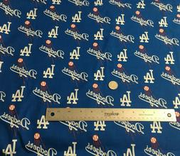 MLB Los Angeles LA Dodgers Blue Logo Baseball Cotton Fabric