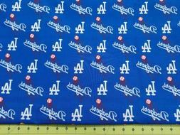 MLB Los Angeles LA Dodgers Blue Logo Baseball Cotton Fabric