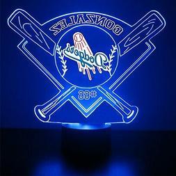 Los Angeles Dodgers Light,  Personalized FREE, Baseball LED