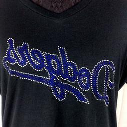 Women's  Los Angeles Dodgers Rhinestone Baseball V-neck T-Sh